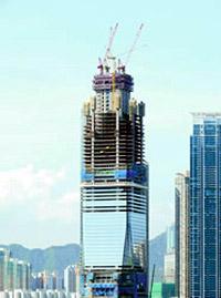 Самое высокое здание в Гонконге, международный коммерческий центр (International Commerce Centre ICC Tower), в котором будут расположены офисы для 20 000 людей. Строительство завершится к 2010 году. В здании высотой 490м 118 этажей. Их будут обслуживать 81 лифт и 38 эскалаторов компании Schindler.